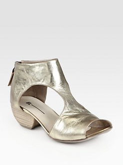Elisanero - Cutout Metallic Leather Ankle Boots