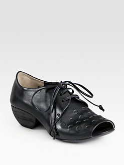 Elisanero - Embossed Leather Lace-Up Oxfords