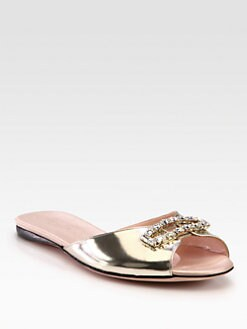 Giambattista Valli - Crystal-Encrusted Metallic Leather Sandals