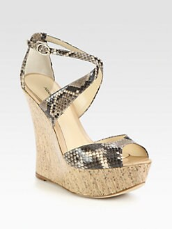 Alexandre Birman - Python & Cork Wedge Sandals