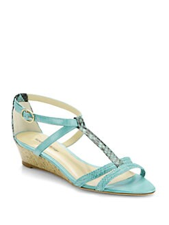 Alexandre Birman - Python T-Strap Cork Wedge Sandals