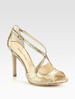 Alexandre Birman - Metallic Python Crisscross Sandals