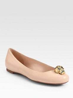 Alexander McQueen - Margareth Skull Leather Ballet Flats