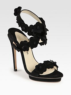 Max Kibardin - Veronica Suede Flower-Trimmed Sandals