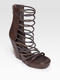 Rick Owens - Leather Gladiator Platform Wedge Sandals
