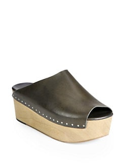Rick Owens - Leather Wooden Platform Clogs