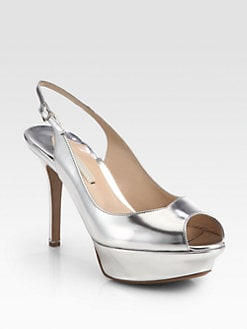 Nicholas Kirkwood - Metallic Leather Slingback Pumps