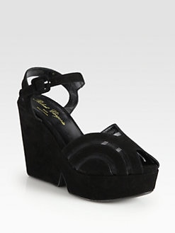 Robert Clergerie - Suede and Semi-Sheer Mesh Wedge Sandals