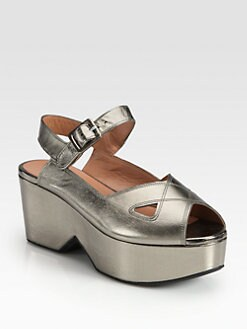 Robert Clergerie - Metallic Leather Wedge Sandal