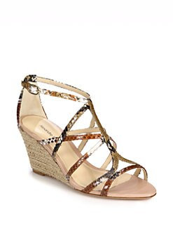 Alexandre Birman - Python & Raffia Wedge Sandals