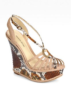 Alexandre Birman - Python & Woven Leather Wedge Sandals