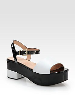 Robert Clergerie - Ekora Bicolor Patent Leather Platform Sandals