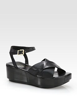 Robert Clergerie - Pima Leather Crisscross Wooden Wedge Sandals