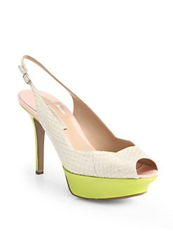 Nicholas Kirkwood - Colorblock Snake-Embossed Slingback Pumps