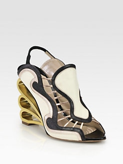 Nicholas Kirkwood - Mixed Media Swirl Wedge Sandals
