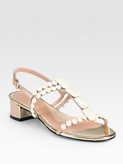 Robert Clergerie - Sango Leather Stone-Embellished Sandals