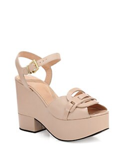 Robert Clergerie - Dors Leather & Patent-Trimmed Wedge Sandals