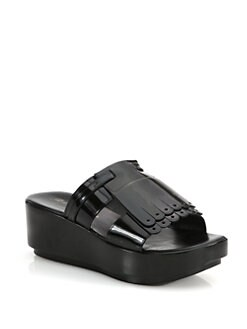 Robert Clergerie - Pardin Patent Leather Wooden Wedge Sandals