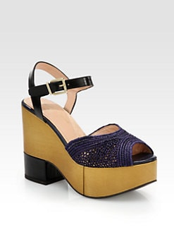 Robert Clergerie - Raffia & Leather Wedge Sandals