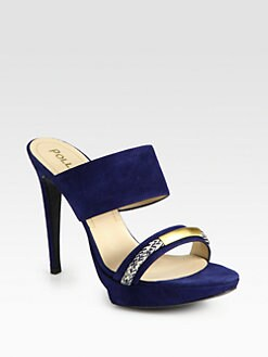Pollini - Suede Braid-Detail Platform Sandals