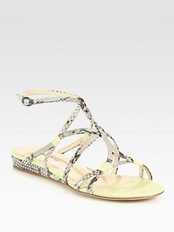 Alexandre Birman - Python & Leather Strappy Sandals