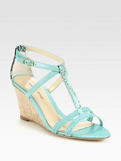 Alexandre Birman - Python & Braided Leather Demi-Wedge Sandals