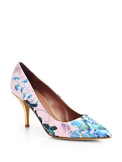 Tabitha Simmons - Anne Floral-Print Satin & Metallic Leather Pumps