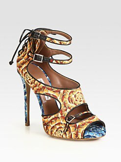 Tabitha Simmons - Bailey Fish-Print Silk & Leather Sandals