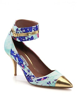 Tabitha Simmons - Helen Floral-Print Satin & Metallic Leather Pumps