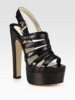 Brian Atwood - Grace Leather Platform Slingback Sandals
