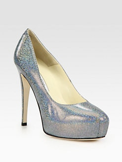 Brian Atwood - Maniac Metallic-Print Leather Platform Pumps