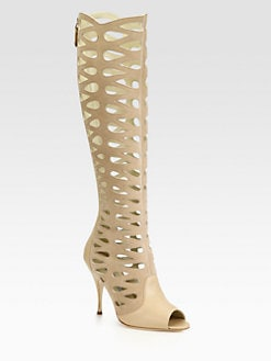 Brian Atwood - Electra Leather Cutout Knee-High Boots