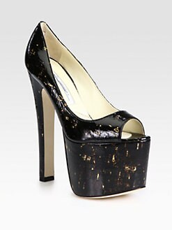 Brian Atwood - Alesha Monster Painted Cork Platform Pumps