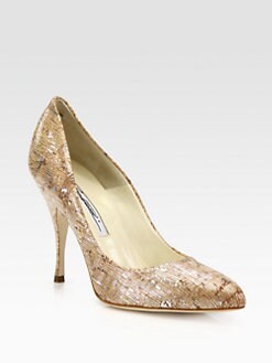 Brian Atwood - Starlet Cork & Metallic Leather Pumps