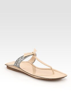 Bottega Veneta - Woven Metallic Leather T-Strap Thong Sandals