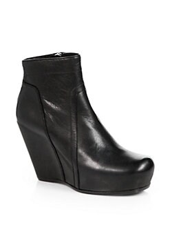 Rick Owens - Leather Wedge Platform Ankle Boots
