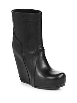 Rick Owens - Leather Mid-Calf Wedge Boots