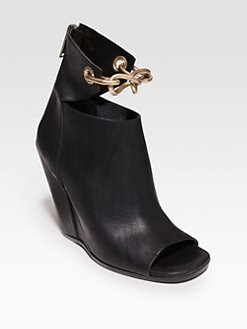 Rick Owens - Leather Chain-Detail Wedge Ankle Boots