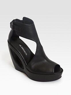 Ann Demeulemeester - Leather Cutout Wedge Sandals