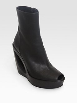 Ann Demeulemeester - Leather Cutout Wedge Boots