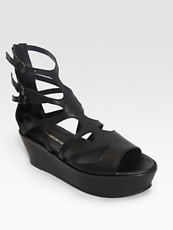 Ann Demeulemeester - Cutout Leather Ankle Strap Platform Sandals