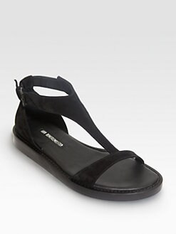 Ann Demeulemeester - Suede T-Strap Platform Sandals