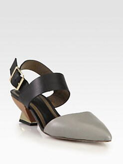 Marni - Bicolor Leather Slingback Pumps