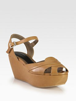 Marni - Leather Platform Wedge Sandals