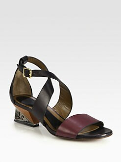 Marni - Leather Crisscross Ankle Strap Sandals