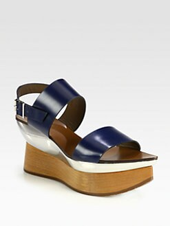 Marni - Leather Wooden Platform Wedge Sandals