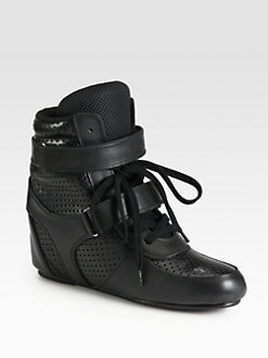 Junya Watanabe - Double Strap Perforated Leather Wedge Sneakers