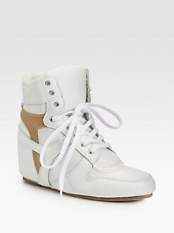 Junya Watanabe - Leather Lace-Up Wedge Sneakers