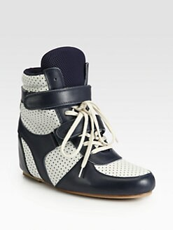 Junya Watanabe - Bicolor Leather Lace-Up Wedge Sneakers