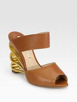 Nicholas Kirkwood - Leather Swirl Wedge Sandals